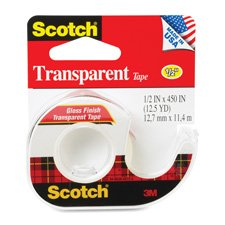 Non Yellowing Photo Safe Dispenser (Scotch Transparent Tape Refillable Dispensesrs - 0.50in. Width x 37.50 ft Length - 1in. Core - Acrylate - Non-yellowing, Photo-safe, Transparent, Glossy - Dispenser Included - Handheld Dispenser - 1)
