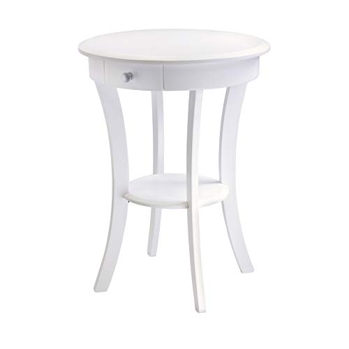 Winsome Wood 10727 Sasha Accent Table, White (Nightstand Round White)