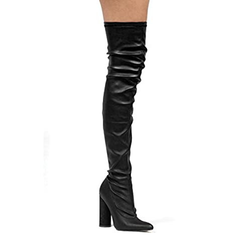 a11cc125f2e ... Round Block Heel Boot Black. 85%OFF Cape Robbin Paw-2 Thigh High Over  Knee Faux Leather Closed Toe