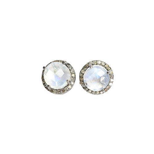 Rainbow Moonstone Diamond Round Halo Stud Earring Sterling Silver June birthstone - 10 mm (Moonstone Earrings Diamond)