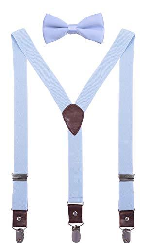 ORSKY Mens' Bow Tie and Suspenders Set Adjustable Elastic 47
