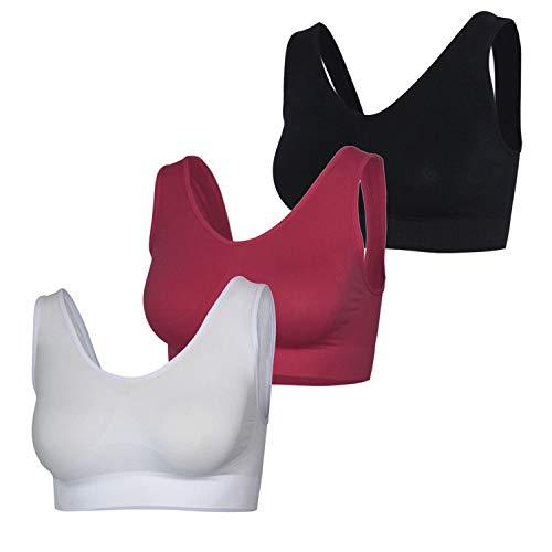 Gloop Naadloze stretchbeha voor dames, push-up, yoga, sportbeha, top, set van 3