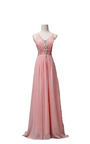 Vogue008 Womens Jewel Neck Sleeveless Chiffon Solid Floor-length Formal Dress with Ruching and (Pink Jewel Neck Rhinestone)
