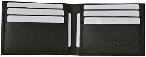 Mens Genuine Leather Credit Card ID Holder Bifold Money Clip Wallet