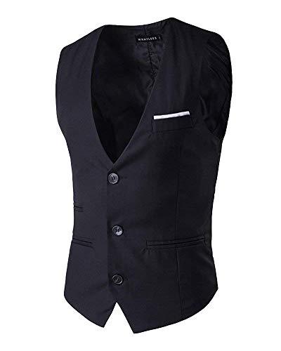 Gilet Retro Slim Business Loisirs Targogo Schwarz Couleur Fit Hommes Casual WqBnqpRf