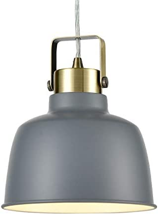 Light Society Mercer Mini Pendant Light, Gray Shade with Brushed Brass Finish, Modern Industrial Farmhouse Lighting Fixture LS-C169-GRY