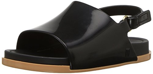 Mini Melissa Girls' Mini Beach Slide Flat Sandal, Black/Beige, 11 M US Little Kid (Sandals Kids Beige)