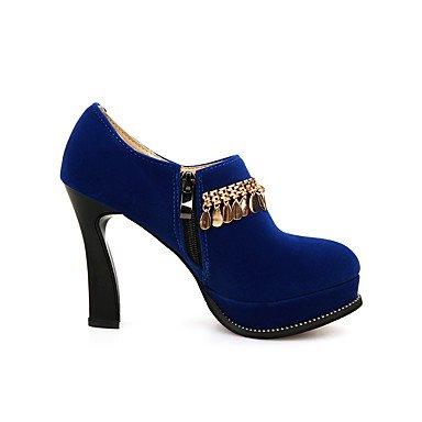 Tacones mujer primavera otoño zapatos formales polipiel oficina exterior &Carrera parte &Noche Casual Chunky talón cremallera Azul Rojo Negro Blue