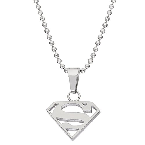 "DC Comics Jewelry Superman, Stainless Steel Cutout Logo Pendant, 16"" Ball Chain from DC Comics"