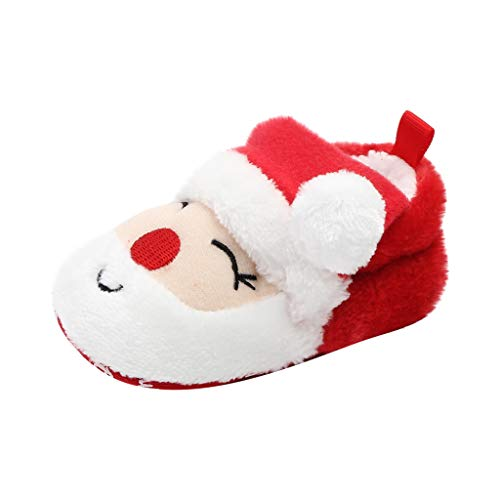 Baby Christmas Boots Slipper Shoes Infant Newborn Santa Booties Toddler Winter Warm Prewalker for Boys Girls (6~12 M, Red) (Burberry Shoes Kids)