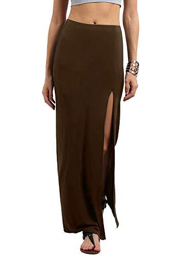 Verdusa Women's Solid Color High Waist Side Split Maxi Skirt Brown S