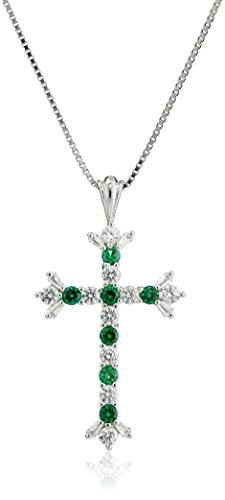 Created Emerald Cross - Sterling Silver Created Emerald and White Sapphire Cross Pendant Necklace, 18