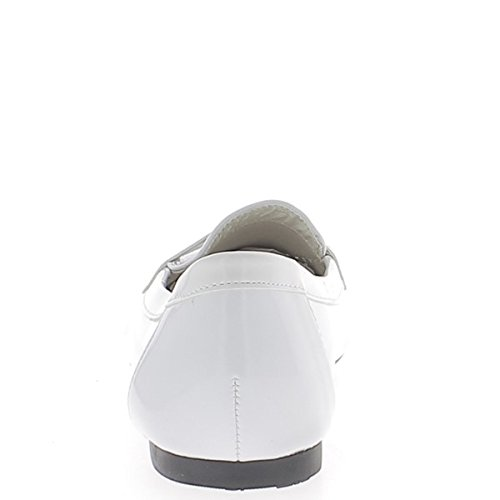 5 cm 0 tip Moccasins Look ChaussMoi White with Heel Varnished Ballerinas HqaSf1