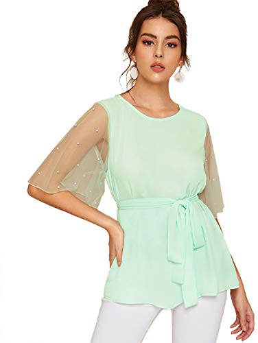 Romwe Women's Short Sleeve Contrast Mesh Pearls Belted Self tie Waist Knot Blouse Top Green L ()