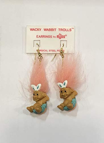 Easter Bunny Troll in Egg Earrings - Troll Doll Earrings Jewelry Russ Peach Hair French Wire