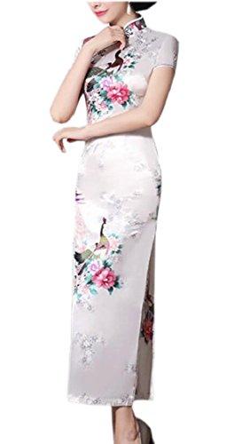 Donne Jaycargogo Abito Qipao Lungo Manica Cheongsam 5 Epoca Corto Cinese RT6nWPRd