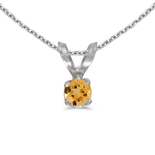 Jewels By Lux 14k White Gold Genuine Birthstone Round Citrine Pendant (0.08 Cttw.)