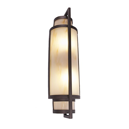 - Steel Partners Lighting 2193-MB-WM Toronto Wall Sconce with White Mica Lens, Mountain Brown Finish