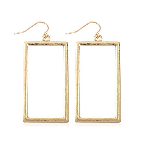 RIAH FASHION Lightweight Geometric Cut-Out Drop Earrings - Simple Metallic Open Hoop Wire Hook Dangles Pear, Teardrop, Oval Octagon (Rectangle Drop - Matte Gold)