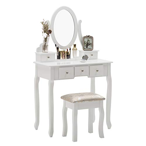 Unihome Furniture Makeup Vanity Table with Mirror, White Dressing Table and Stool, 5 Drawers Vanity Set for Bedroom ()