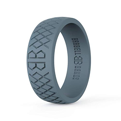 Barbell Bands Silicone Ring for Men | Premium Rubber Wedding Band | Perfect for Tactical Jobs, Weightlifting, Active Lifestyle (Steel Gray, 10)