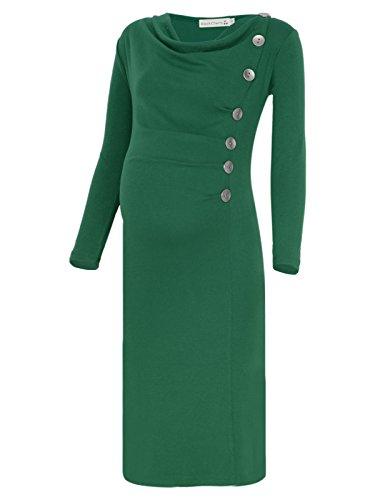 BlackCherry Women's Long Sleeve Cowl Neck Buttons Maternity