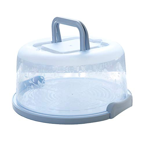 FEOOWV Plastic Small Cake Carrier Holder Cover Round Container with Collapsible Handles Suitable for 6 inch Cake (Blue)