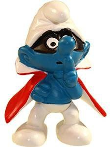 Smurfs Figurine (Schleich Super Smurf Figurine - 1966 Spy Smurf with Cape)