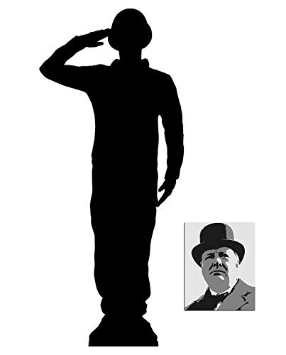Saluting Wartime Soldier Silhouette Lifesize Cardboard Cutout Fan Pack, 175cm x 75cm Includes 8x10 Star Photo