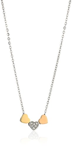(Fossil Women's Heart Tri-Tone Steel Chain Necklace, Color: Silver)