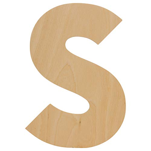Wooden Letters - S - Unfinished 12 Inch Decorative Craft Monogram for Wedding Parties and Home Décor with Tool Free Adhesive Foam Squares for Hanging by Woodpeckers (12 Inch Wooden Letters)