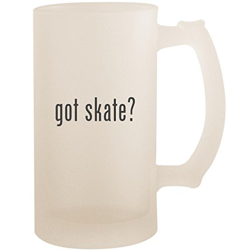 Hockey In Gloves Line (got skate? - 16oz Glass Frosted Beer Stein Mug, Frosted)
