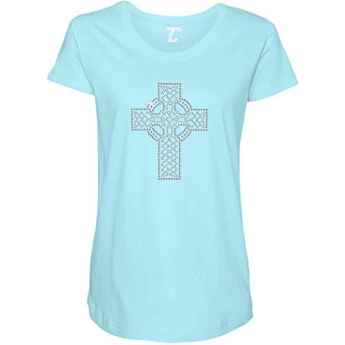 Holy Cross - Rhinestone Religious Side Ruched Maternity T-Shirt (Light Blue, XX-Large) ()