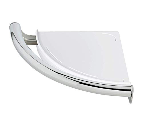 Home Décor Premium Contemporary Corner Shelf/Assist Bar Polished Chrome Storage