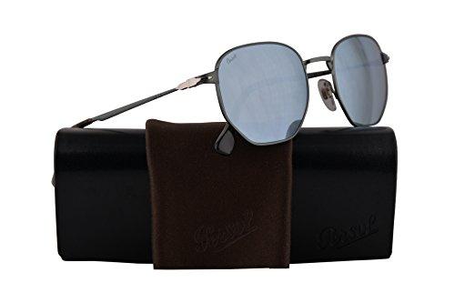 Persol PO2446S Sunglasses Demi Gloss Gunmetal w/Light Green Mirror Silver Lens 52mm 105830 PO 2446-S PO2446-S PO 2446S (Persol Silver Sunglasses)