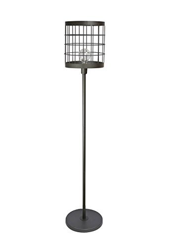 Grandview Gallery 63.5 Industrial Cast Iron Floor Lamp ft. Unique Welded Metal Cage Shade and Visible Edison Bulb Included – Versatile Modern Industrial Lighting