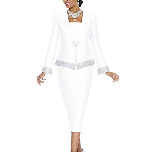 Go Mai Women Church Suits Church Dress Suit for Ladies Mother Gifts Special Occasion Wedding Party Formal Church Clothes White (Mothers Suit Church Dress Ladies)