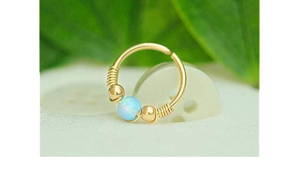 Amazon Com Septum Ring Gold Septum Ring Opal Septum Ring 20g