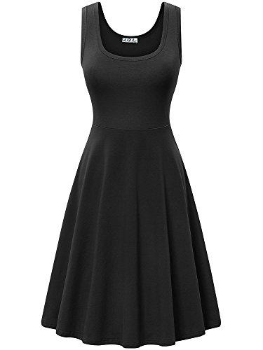 Line Scoop Neck - KIRA Womens Casual Dress Sleeveless Scoop Neck A-Line Dress(L,Black)