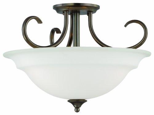 Thomas Lighting SL860715 Bella Collection 3 Light Convertible Semi-Flush Ceiling Light, Oiled (Bella 3 Light Pendant)
