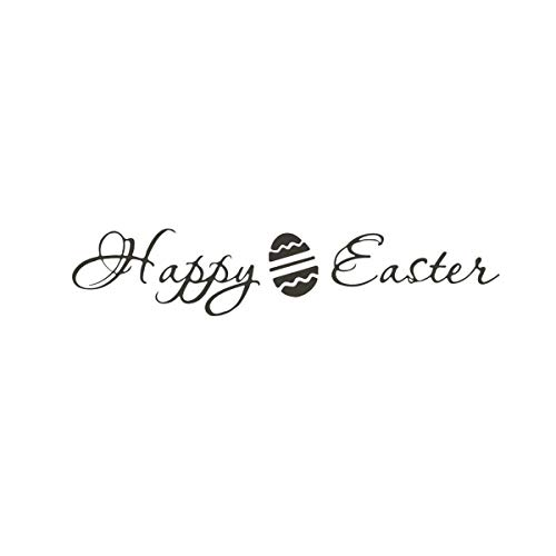 Happy Easter Peel - Meiliwanju Easter Bunny Wall Decal Happy Easter Removable Peel and Stick Wall Stickers Happy Easter Decor Kids Living Room  Bedroom (As Shown,)
