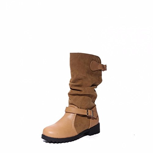 Cashmere high boots female Winter Boots Size belt buckle Brown dVRB8u