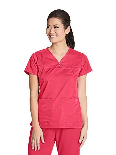 Grey's Anatomy 41340 V-Neck Yoke Top Papaya M