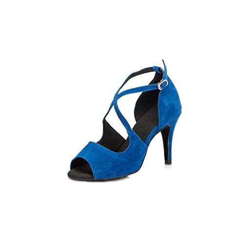 Miyoopark Da Donna Stiletto Tacco Alto In Camoscio Sera Da Sera Sandali Moderni Scarpe Da Ballo Blu