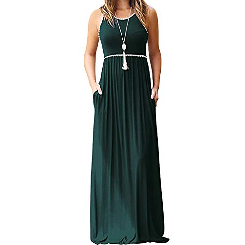 TnaIolral Women's Summer Bohemian Floral Dresses Sleeveless Pockets Racerback Scoop Neck Casual Long Maxi Dress (M, Green)]()