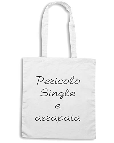 Speed Shirt Borsa Shopper Bianca TDM00214 PERICOLO SINGLE E ARRAPATA