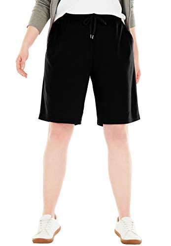 Woman Within Women's Plus Size Sport Knit Short - Black, 1X ()