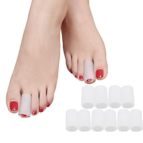 Povihome Toe Sleeves, Toe Protectors, 10 Pack ( for Middle Toe ) Toe Tube Pads for Hammer Toe,Stubbed Toe,Crossing Toes,Corns Calluses Protect ()