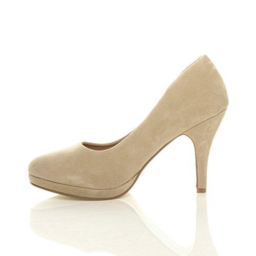 Moyen Daim Chaussures Hauts Escarpins Élégant Talons Beige Femmes Pointure Simple Soirée ZxAzafqn