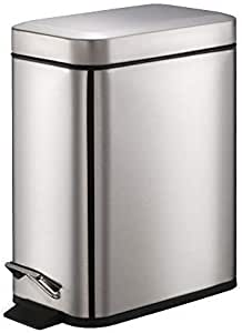 Smartbin 5L Stainless Steel Rectangular Pedal Dust Bin with Silent Lid Garbage Can Kitchen Trash Can Waste Basket Recycle Bin Fingerprint Proof from Home Kitchen Toilet Bedroom (Silver)